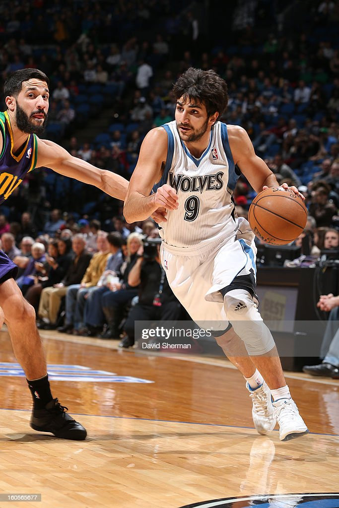 Ricky Rubio #9 of the Minnesota Timberwolves handles the ball against Greivis Vasquez #21 of the New Orleans Hornets on February 2, 2013 at Target Center in Minneapolis, Minnesota.