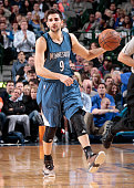 Ricky Rubio of the Minnesota Timberwolves handles the ball against the Dallas Mavericks on February 2 2015 at the American Airlines Center in Dallas...