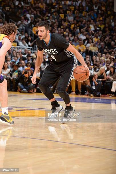 Ricky Rubio of the Minnesota Timberwolves handles the ball against the Los Angeles Lakers on October 28 2015 at STAPLES Center in Los Angeles...