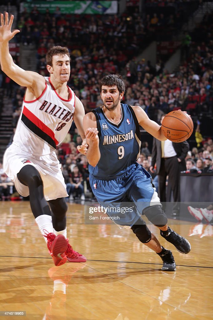 Ricky Rubio #9 of the Minnesota Timberwolves handles the ball during a game against the Portland Trail Blazers on February 23, 2014 at the Moda Center Arena in Portland, Oregon.