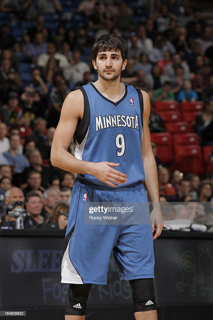 Ricky Rubio #9 of the Minnesota Timberwolves in a game against the Sacramento Kings on March 21, 2013 at Sleep Train Arena in Sacramento, California.