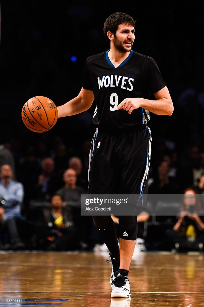 Ricky Rubio of the Minnesota Timberwolves in action during a game against the Brooklyn Nets at the Barclays Center on November 5 2014 in the Brooklyn...