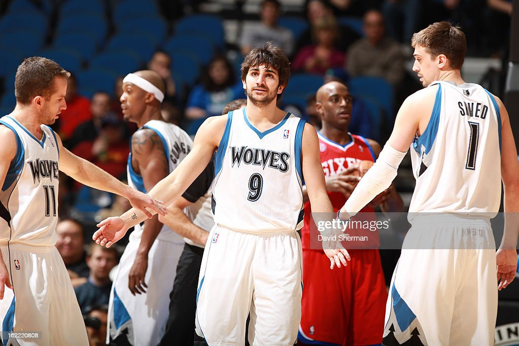 Ricky Rubio #9 of the Minnesota Timberwolves is greeted by teammates during the game between Philadelphia 76ers and the Minnesota Timberwolves on February 20, 2013 at Target Center in Minneapolis, Minnesota.