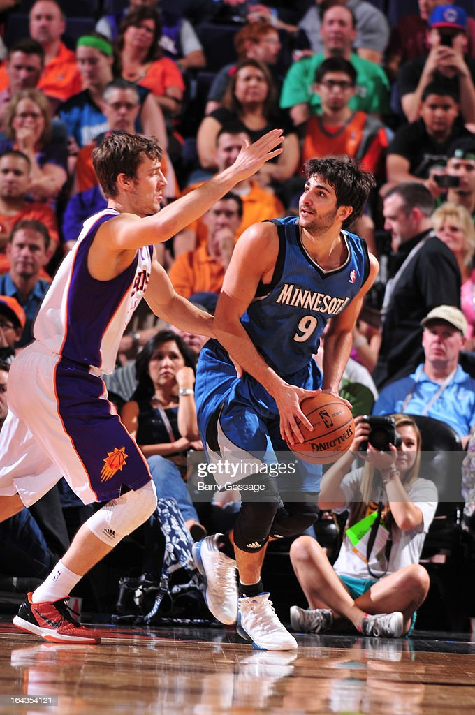 Ricky Rubio #9 of the Minnesota Timberwolves is guarded by Goran Dragic #1 of the Phoenix Suns on March 22, 2013 at U.S. Airways Center in Phoenix, Arizona.