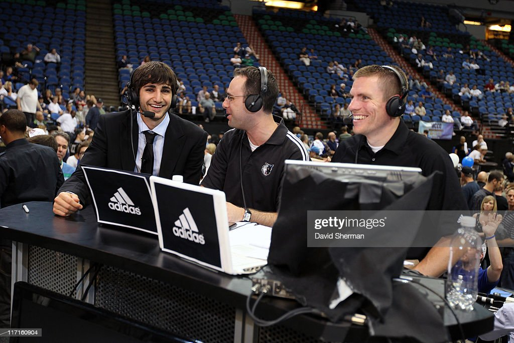 <a gi-track='captionPersonalityLinkClicked' href=/galleries/search?phrase=Ricky+Rubio&family=editorial&specificpeople=4028920 ng-click='$event.stopPropagation()'>Ricky Rubio</a> of the Minnesota Timberwolves, Johan Ballow and John Folke from Timberwolves.com prepare for an interview at the team's 2011 NBA Draft Party at Target Center on June 23, 2011 in Minneapolis, Minnesota.