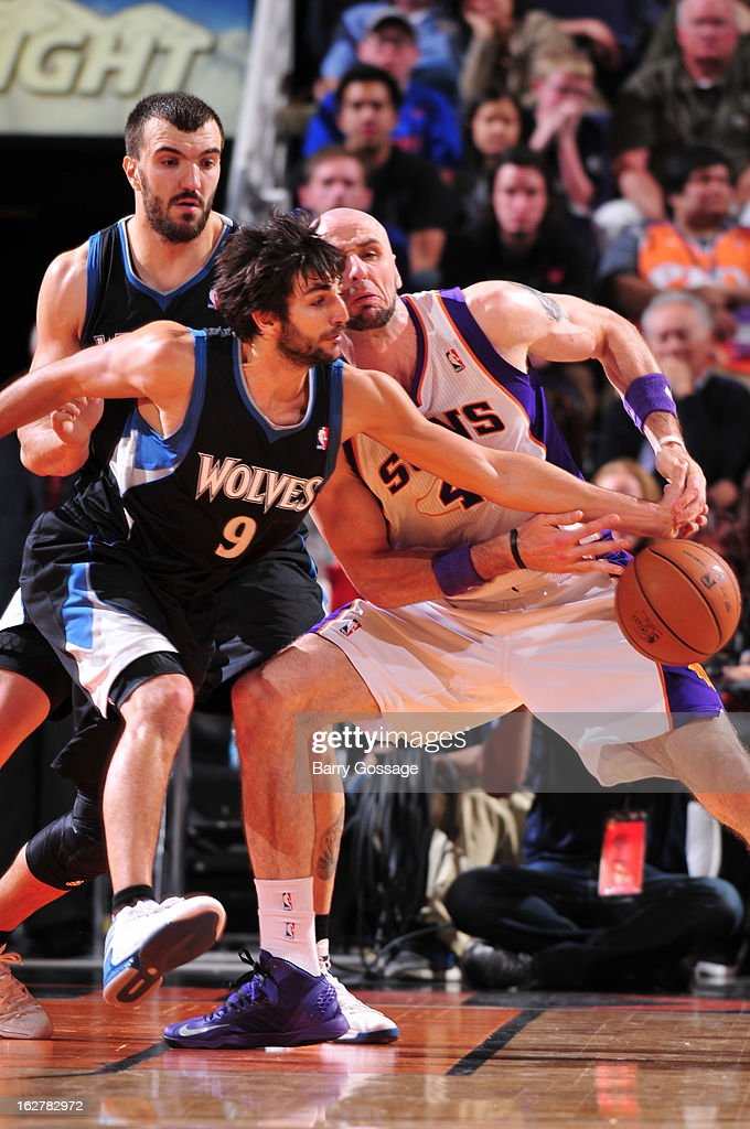 <a gi-track='captionPersonalityLinkClicked' href=/galleries/search?phrase=Ricky+Rubio&family=editorial&specificpeople=4028920 ng-click='$event.stopPropagation()'>Ricky Rubio</a> #9 of the Minnesota Timberwolves knocks the ball away from <a gi-track='captionPersonalityLinkClicked' href=/galleries/search?phrase=Marcin+Gortat&family=editorial&specificpeople=589986 ng-click='$event.stopPropagation()'>Marcin Gortat</a> #4 of the Phoenix Suns on February 26, 2013 at U.S. Airways Center in Phoenix, Arizona.
