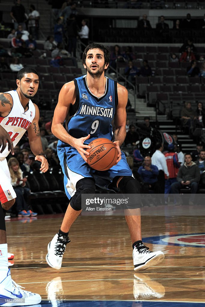 <a gi-track='captionPersonalityLinkClicked' href=/galleries/search?phrase=Ricky+Rubio&family=editorial&specificpeople=4028920 ng-click='$event.stopPropagation()'>Ricky Rubio</a> #9 of the Minnesota Timberwolves looks for the open shot against the Detroit Pistons during the game on October 24, 2013 at The Palace of Auburn Hills in Auburn Hills, Michigan.