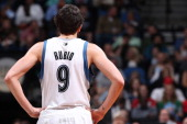 Ricky Rubio of the Minnesota Timberwolves looks on against the Chicago Bulls during the game on April 9 2014 at Target Center in Minneapolis...