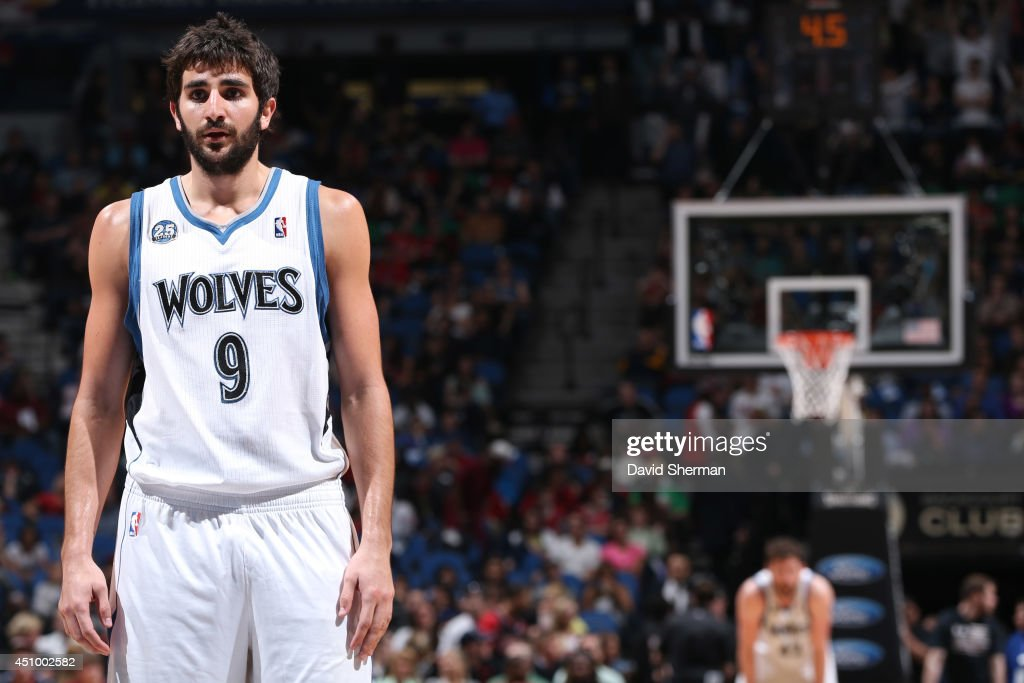 Ricky Rubio #9 of the Minnesota Timberwolves looks on against the Chicago Bulls during the game on April 9, 2014 at Target Center in Minneapolis, Minnesota.