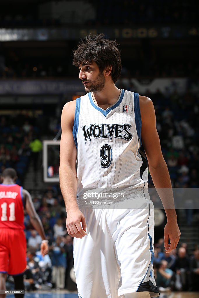 Ricky Rubio #9 of the Minnesota Timberwolves looks on during the game between Philadelphia 76ers and the Minnesota Timberwolves on February 20, 2013 at Target Center in Minneapolis, Minnesota.
