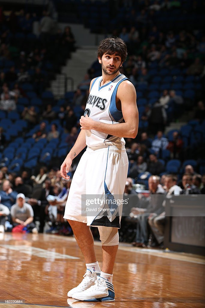 <a gi-track='captionPersonalityLinkClicked' href=/galleries/search?phrase=Ricky+Rubio&family=editorial&specificpeople=4028920 ng-click='$event.stopPropagation()'>Ricky Rubio</a> #9 of the Minnesota Timberwolves looks on during the game between Philadelphia 76ers and the Minnesota Timberwolves on February 20, 2013 at Target Center in Minneapolis, Minnesota.
