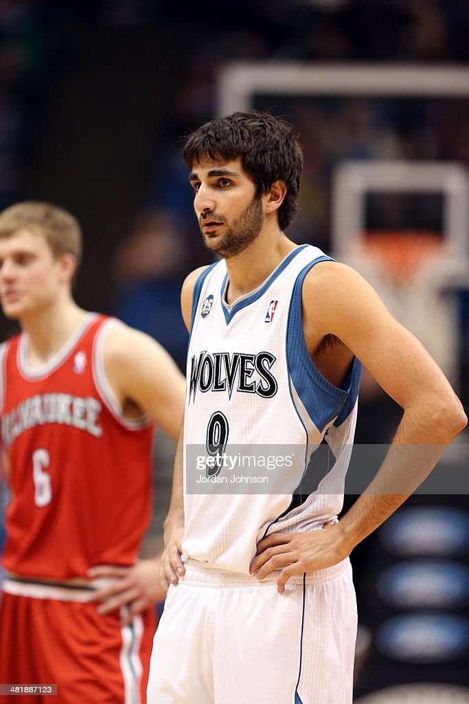 Ricky Rubio #9 of the Minnesota Timberwolves looks on during the game against the Milwaukee Bucks on March 11, 2014 at Target Center in Minneapolis, Minnesota.