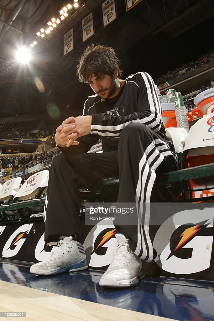Ricky Rubio #9 of the Minnesota Timberwolves looks on prior to the game between the Indiana Pacers and the Minnesota Timberwolves on March 13, 2013 at Bankers Life Fieldhouse in Indianapolis, Indiana.