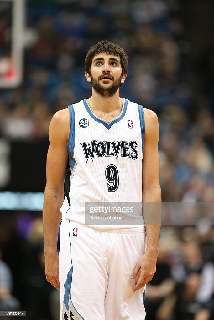 <a gi-track='captionPersonalityLinkClicked' href=/galleries/search?phrase=Ricky+Rubio&family=editorial&specificpeople=4028920 ng-click='$event.stopPropagation()'>Ricky Rubio</a> #9 of the Minnesota Timberwolves on the court during the game against the Detroit Pistons on March 7, 2014 at Target Center in Minneapolis, Minnesota.