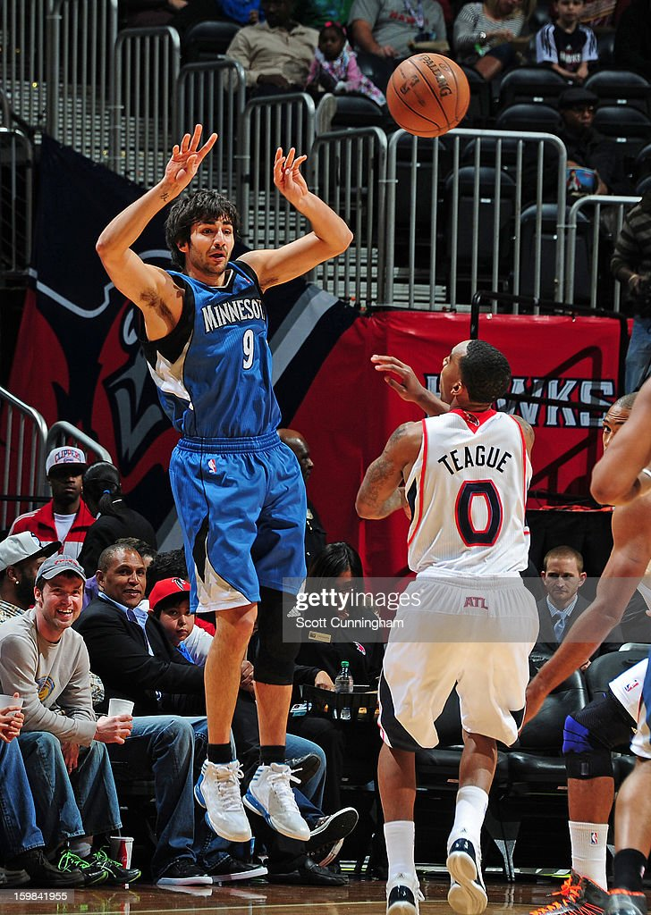 Ricky Rubio #9 of the Minnesota Timberwolves passes the ball against the Atlanta Hawks on January 21, 2013 at Philips Arena in Atlanta, Georgia.