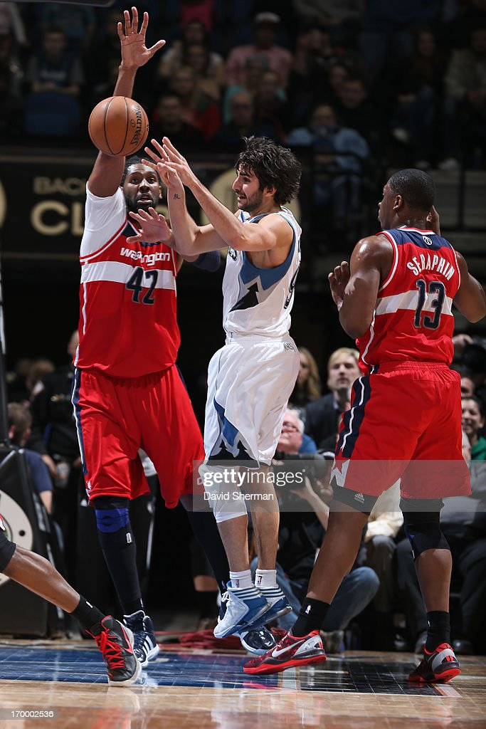 Ricky Rubio #9 of the Minnesota Timberwolves passes the ball against the Washington Wizards during the game on March 6, 2013 at Target Center in Minneapolis, Minnesota.