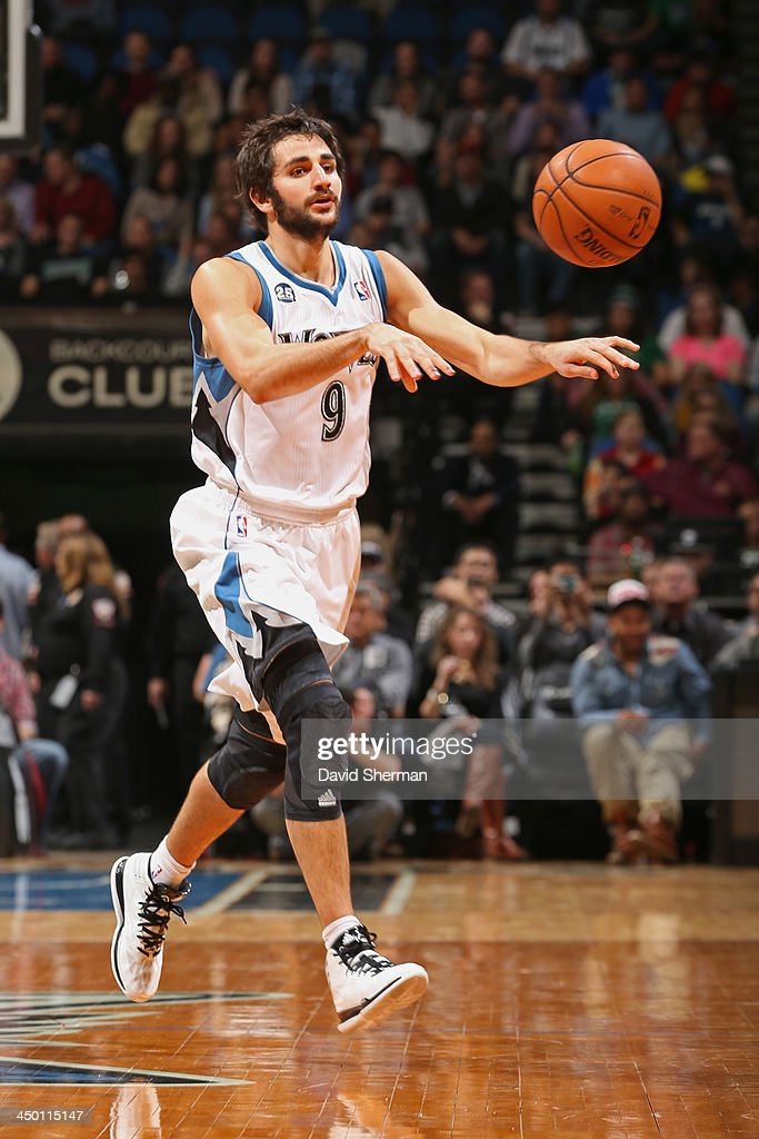 Ricky Rubio #9 of the Minnesota Timberwolves passes the ball against the Boston Celtics on November 16, 2013 at Target Center in Minneapolis, Minnesota.
