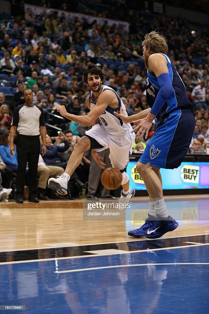 Ricky Rubio #9 of the Minnesota Timberwolves passes the ball between his legs against the Dallas Mavericks on March 10, 2013 at Target Center in Minneapolis, Minnesota.