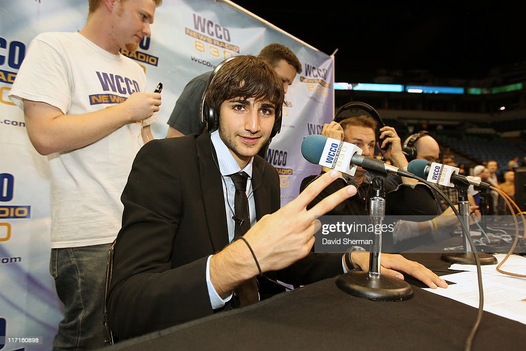 <a gi-track='captionPersonalityLinkClicked' href=/galleries/search?phrase=Ricky+Rubio&family=editorial&specificpeople=4028920 ng-click='$event.stopPropagation()'>Ricky Rubio</a> of the Minnesota Timberwolves prepares for an interview at the team's 2011 NBA Draft Party at Target Center on June 23, 2011 in Minneapolis, Minnesota.