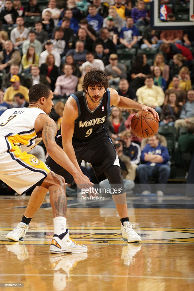 Ricky Rubio #9 of the Minnesota Timberwolves protects the ball during the game between the Indiana Pacers and the Minnesota Timberwolves on March 13, 2013 at Bankers Life Fieldhouse in Indianapolis, Indiana.