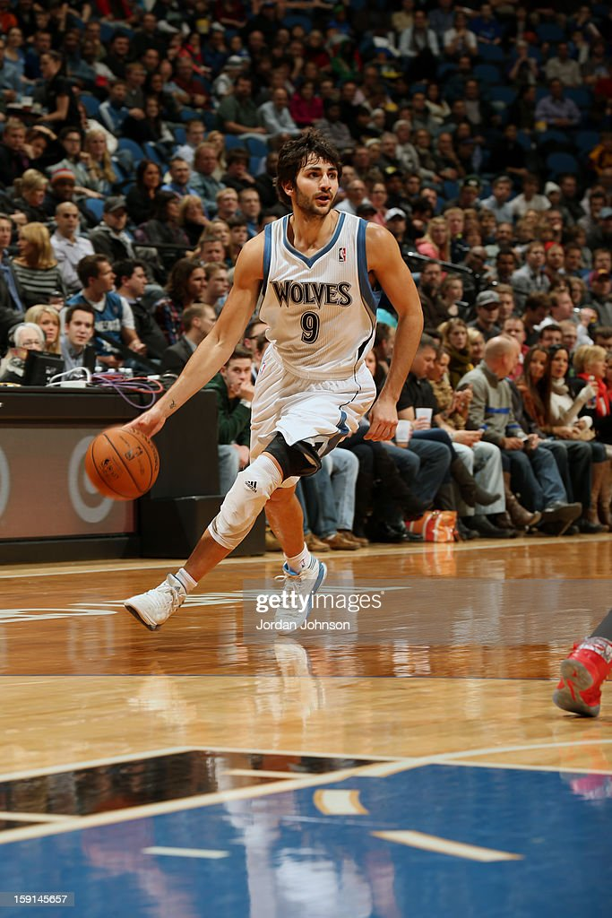 Ricky Rubio #9 of the Minnesota Timberwolves pushes the ball up the floor against the Atlanta Hawks during the game on January 8, 2013 at Target Center in Minneapolis, Minnesota.