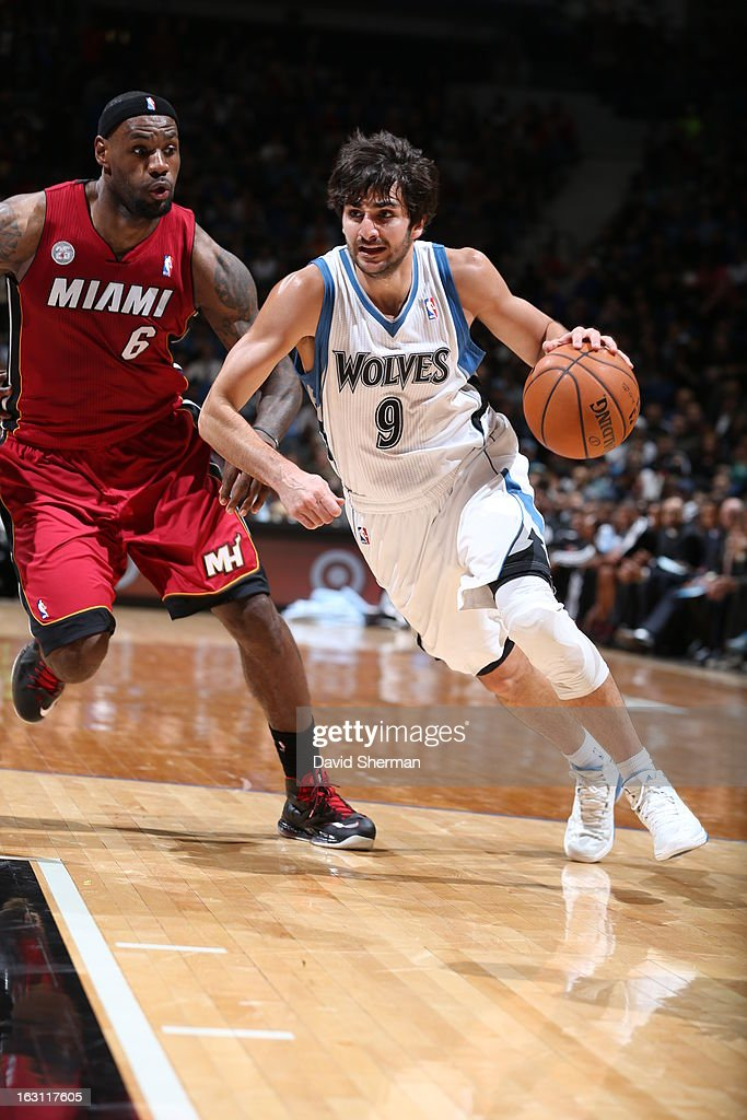 Ricky Rubio #9 of the Minnesota Timberwolves pushes the ball up the floor against LeBron James #6 of the Miami Heat during the game on March 4, 2013 at Target Center in Minneapolis, Minnesota.