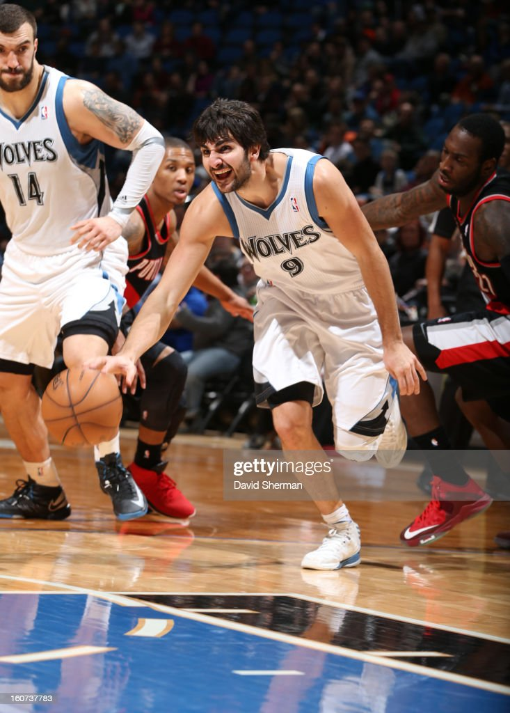 <a gi-track='captionPersonalityLinkClicked' href=/galleries/search?phrase=Ricky+Rubio&family=editorial&specificpeople=4028920 ng-click='$event.stopPropagation()'>Ricky Rubio</a> #9 of the Minnesota Timberwolves reaches for the ball during the game between the Minnesota Timberwolves and the Portland Trail Blazers on February 4, 2013 at Target Center in Minneapolis, Minnesota.