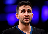Ricky Rubio of the Minnesota Timberwolves reacts as he heads to the bench after a timeout with his team leading the game against the Los Angeles...