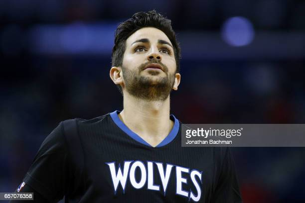 Ricky Rubio of the Minnesota Timberwolves reacts during the first half of a game against the New Orleans Pelicans at the Smoothie King Center on...
