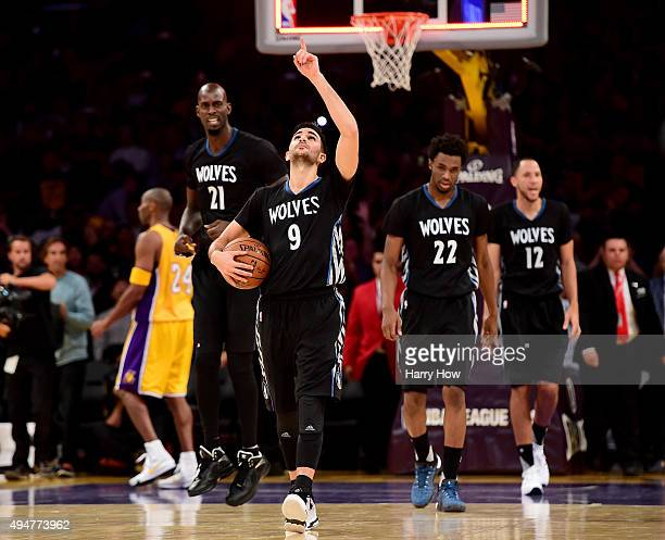 Ricky Rubio of the Minnesota Timberwolves reacts to a 112111 win over the Los Angeles Lakers at Staples Center on October 28 2015 in Los Angeles...