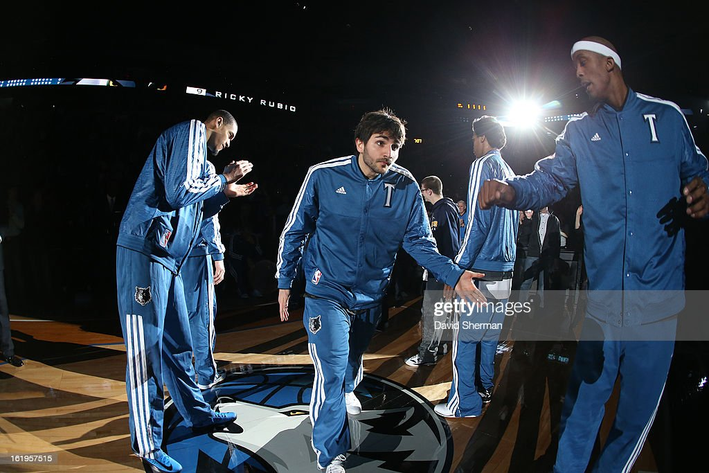 <a gi-track='captionPersonalityLinkClicked' href=/galleries/search?phrase=Ricky+Rubio&family=editorial&specificpeople=4028920 ng-click='$event.stopPropagation()'>Ricky Rubio</a> #9 of the Minnesota Timberwolves runs out before the game against the Brooklyn Nets on January 23, 2013 at Target Center in Minneapolis, Minnesota.