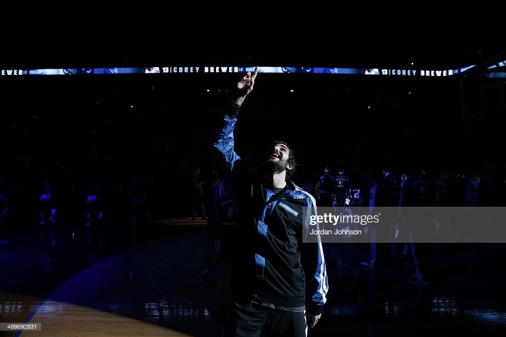 <a gi-track='captionPersonalityLinkClicked' href=/galleries/search?phrase=Ricky+Rubio&family=editorial&specificpeople=4028920 ng-click='$event.stopPropagation()'>Ricky Rubio</a> #9 of the Minnesota Timberwolves runs out before the game against the Cleveland Cavaliers on November 13, 2013 at Target Center in Minneapolis, Minnesota.