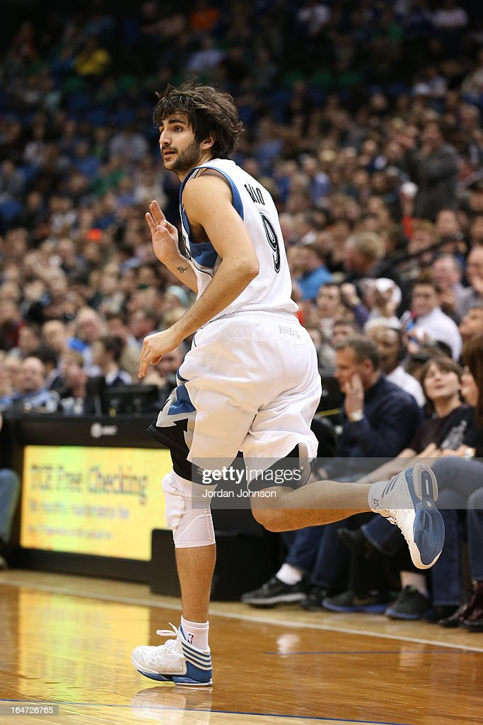 Ricky Rubio #9 of the Minnesota Timberwolves runs up the court against the San Antonio Spurs on March 12, 2013 at Target Center in Minneapolis, Minnesota.