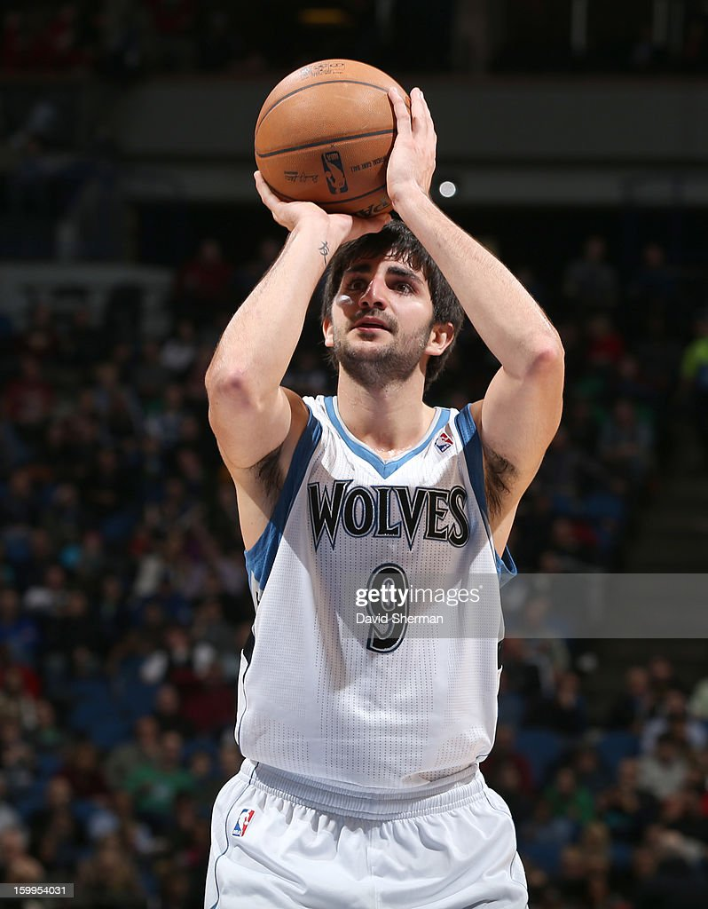 Ricky Rubio #9 of the Minnesota Timberwolves shoots a free throw during the game between the Minnesota Timberwolves and the Brooklyn Nets on January 23, 2013 at Target Center in Minneapolis, Minnesota.