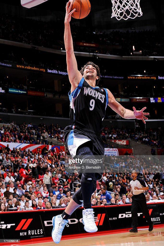 <a gi-track='captionPersonalityLinkClicked' href=/galleries/search?phrase=Ricky+Rubio&family=editorial&specificpeople=4028920 ng-click='$event.stopPropagation()'>Ricky Rubio</a> #9 of the Minnesota Timberwolves shoots a layup against the Los Angeles Clippers at Staples Center on April 10, 2013 in Los Angeles, California.