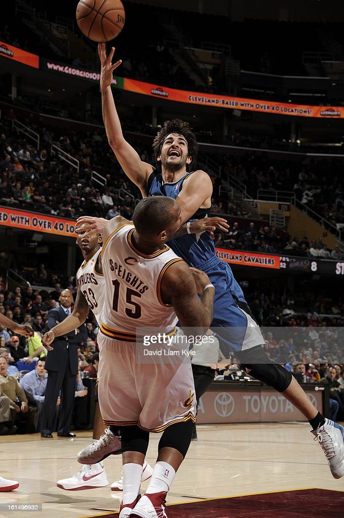 <a gi-track='captionPersonalityLinkClicked' href=/galleries/search?phrase=Ricky+Rubio&family=editorial&specificpeople=4028920 ng-click='$event.stopPropagation()'>Ricky Rubio</a> #9 of the Minnesota Timberwolves shoots against <a gi-track='captionPersonalityLinkClicked' href=/galleries/search?phrase=Marreese+Speights&family=editorial&specificpeople=4187263 ng-click='$event.stopPropagation()'>Marreese Speights</a> #15 of the Cleveland Cavaliers at The Quicken Loans Arena on February 11, 2013 in Cleveland, Ohio.