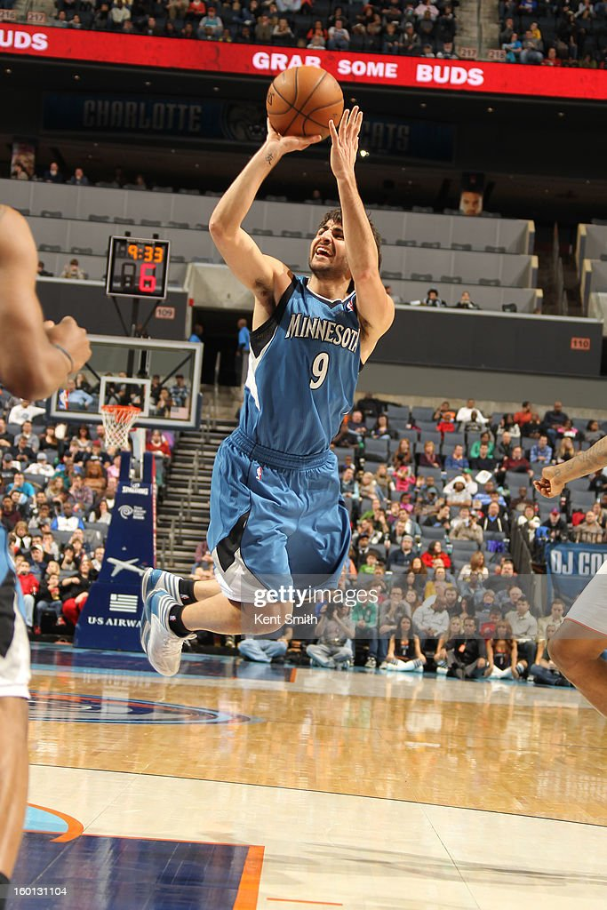 Ricky Rubio #9 of the Minnesota Timberwolves shoots against the Charlotte Bobcats at the Time Warner Cable Arena on January 26, 2013 in Charlotte, North Carolina.