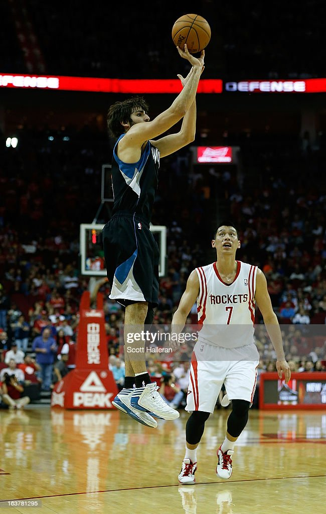 Ricky Rubio #9 of the Minnesota Timberwolves shoots over Jeremy Lin #7 of the Houston Rockets at Toyota Center on March 15, 2013 in Houston, Texas.