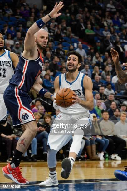 Ricky Rubio of the Minnesota Timberwolves shoots the ball against Marcin Gortat of the Washington Wizards during the second quarter of the game on...