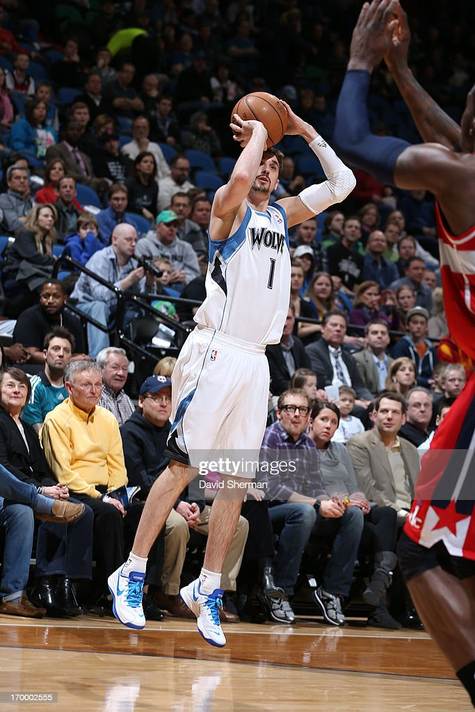 <a gi-track='captionPersonalityLinkClicked' href=/galleries/search?phrase=Ricky+Rubio&family=editorial&specificpeople=4028920 ng-click='$event.stopPropagation()'>Ricky Rubio</a> #1 of the Minnesota Timberwolves shoots the ball against the Washington Wizards during the game on March 6, 2013 at Target Center in Minneapolis, Minnesota.