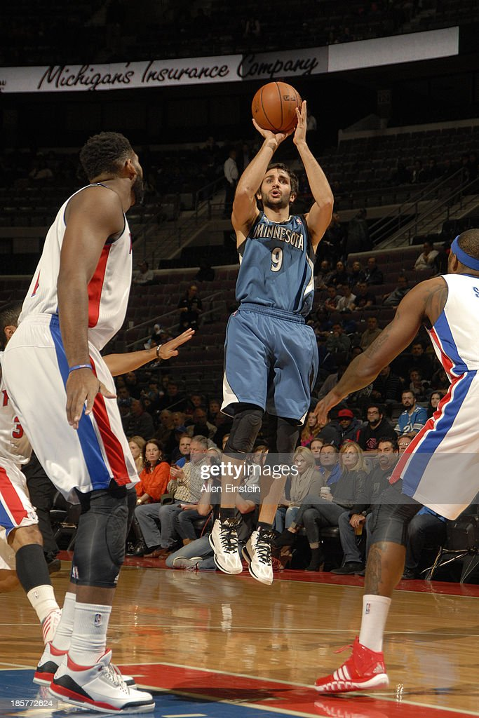 <a gi-track='captionPersonalityLinkClicked' href=/galleries/search?phrase=Ricky+Rubio&family=editorial&specificpeople=4028920 ng-click='$event.stopPropagation()'>Ricky Rubio</a> #9 of the Minnesota Timberwolves shoots the ball against the Detroit Pistons during the game on October 24, 2013 at The Palace of Auburn Hills in Auburn Hills, Michigan.