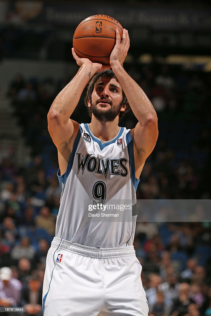 Ricky Rubio #9 of the Minnesota Timberwolves shoots the ball against the Cleveland Cavaliers on November 13, 2013 at Target Center in Minneapolis, Minnesota.