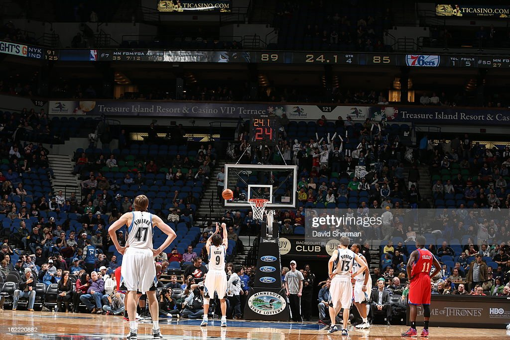 <a gi-track='captionPersonalityLinkClicked' href=/galleries/search?phrase=Ricky+Rubio&family=editorial&specificpeople=4028920 ng-click='$event.stopPropagation()'>Ricky Rubio</a> #9 of the Minnesota Timberwolves shoots the ball during the game between Philadelphia 76ers and the Minnesota Timberwolves on February 20, 2013 at Target Center in Minneapolis, Minnesota.