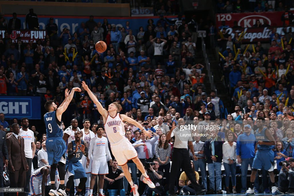 Ricky Rubio of the Minnesota Timberwolves shoots the game winning threepointer against the Oklahoma City Thunder on March 10 2016 at the Chesapeake...