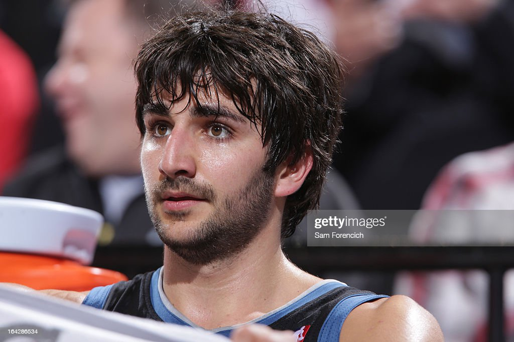 <a gi-track='captionPersonalityLinkClicked' href=/galleries/search?phrase=Ricky+Rubio&family=editorial&specificpeople=4028920 ng-click='$event.stopPropagation()'>Ricky Rubio</a> #9 of the Minnesota Timberwolves sits on the bench during the game against the Portland Trail Blazers on March 2, 2013 at the Rose Garden Arena in Portland, Oregon.