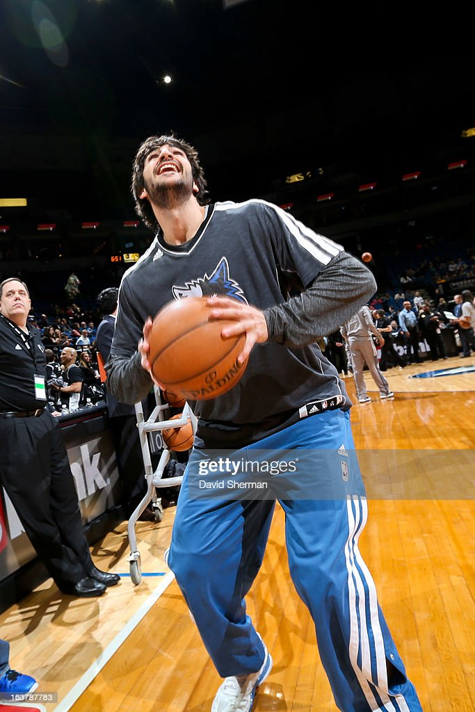 Ricky Rubio #9 of the Minnesota Timberwolves smiles during warm-ups before playing the San Antonio Spurs on March 12, 2013 at Target Center in Minneapolis, Minnesota.