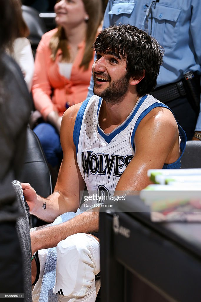 Ricky Rubio #9 of the Minnesota Timberwolves smiles on the bench during a game against the San Antonio Spurs on March 12, 2013 at Target Center in Minneapolis, Minnesota.