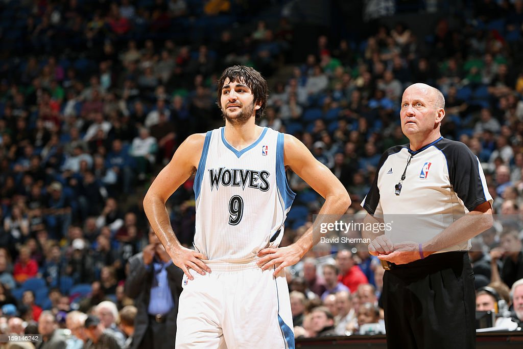 Ricky Rubio #9 of the Minnesota Timberwolves speaks with the ref during a break in play against the Atlanta Hawks during the game on January 8, 2013 at Target Center in Minneapolis, Minnesota.