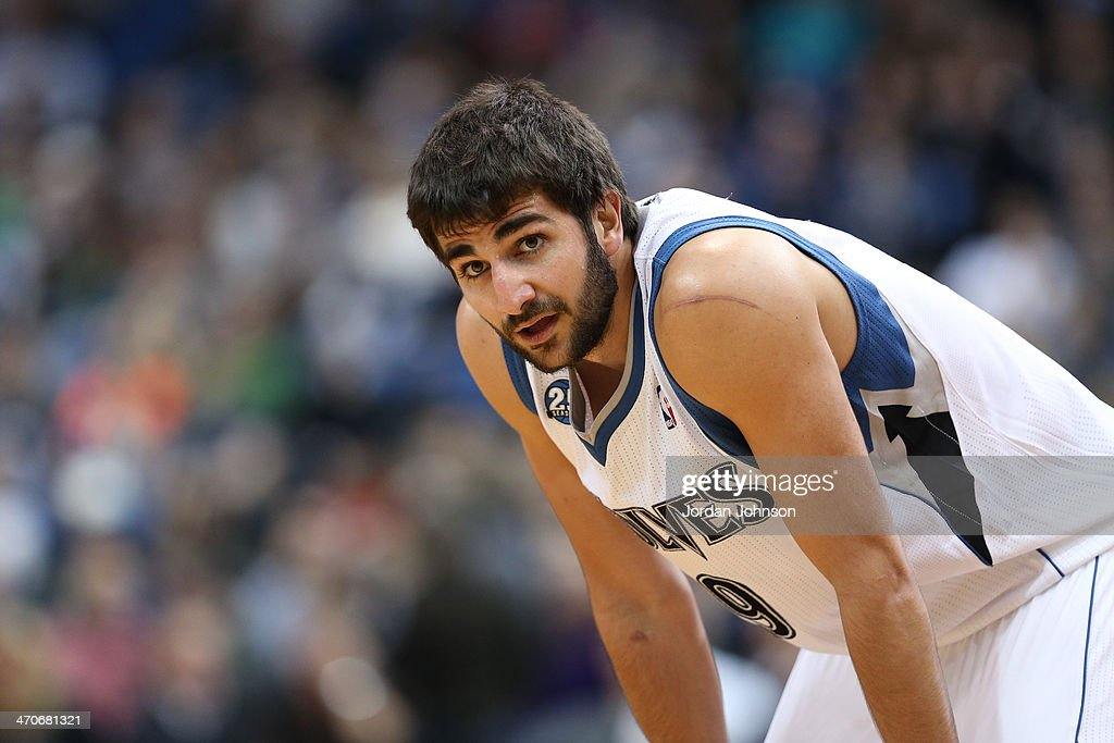 <a gi-track='captionPersonalityLinkClicked' href=/galleries/search?phrase=Ricky+Rubio&family=editorial&specificpeople=4028920 ng-click='$event.stopPropagation()'>Ricky Rubio</a> #9 of the Minnesota Timberwolves stands on the court against the Indiana Pacers on February 19, 2014 at Target Center in Minneapolis, Minnesota.