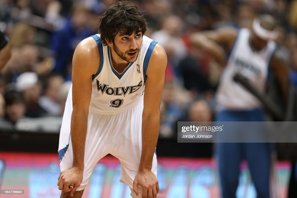 <a gi-track='captionPersonalityLinkClicked' href=/galleries/search?phrase=Ricky+Rubio&family=editorial&specificpeople=4028920 ng-click='$event.stopPropagation()'>Ricky Rubio</a> #9 of the Minnesota Timberwolves stands on the court during the game against the Dallas Mavericks on March 10, 2013 at Target Center in Minneapolis, Minnesota.